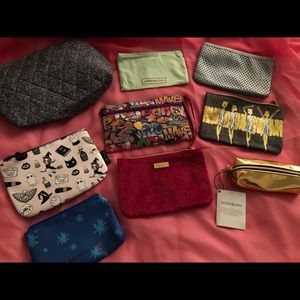 Lot of 10 Ipsy, Lip Monthly & YSL makeup bags.